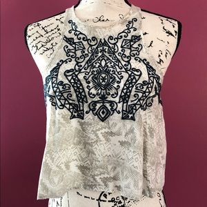 Urban Outfitters Ecote Sienna Embroidered Crop Top